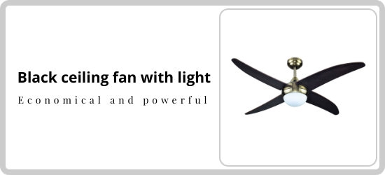 Excellent black ceiling fan with light and remote control for medium sized rooms Economic and powerful