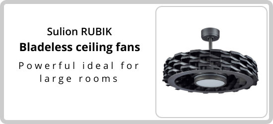 Innovative and modern blade-free ceiling fans with LED ceiling light, sucks in and redistributes air into the room With double lighting