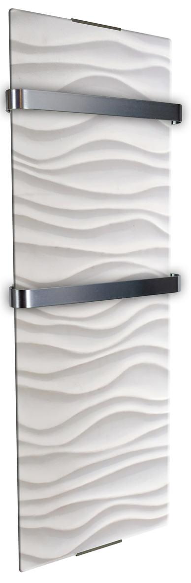 Radiatore elettrico da parete per bagno bianco design onda for Radiatori elettrici per bagno