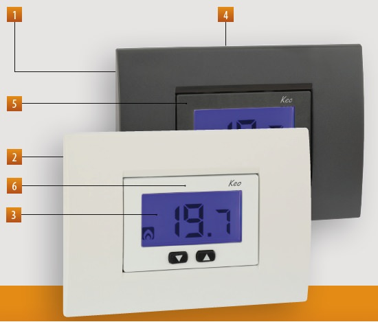 Keob lcd termost incasso batteria ve267100 for Termostato touchscreen gsm vimar 02906