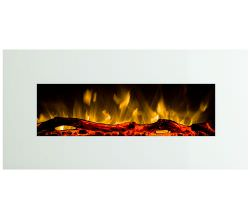 Pluto White Led Mural Fireplace