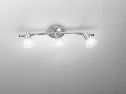 Spot lamp with 3 Chrome and Glass spotlights