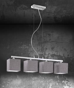 Suspension with 4 Fabric Lampshades
