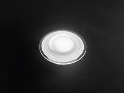 Ceiling lamp in white and transparent glass