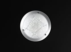 LED glass ceiling light with crystals 30 cm
