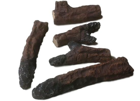 Set of 5 decorative wood logs