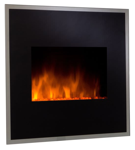 Electric wall fireplace with remote cont