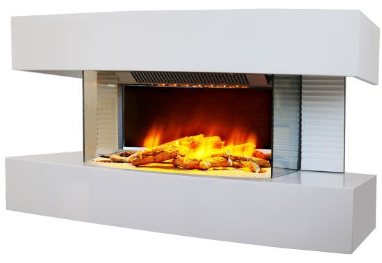 White Lounge floor fireplace