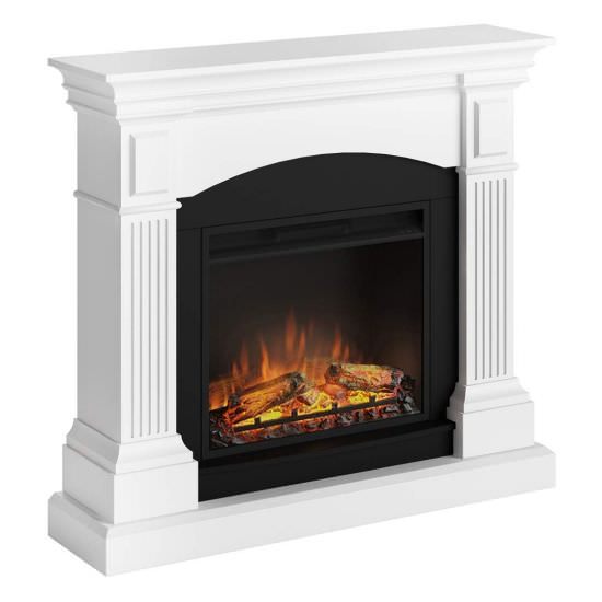 Complete electric fireplace White