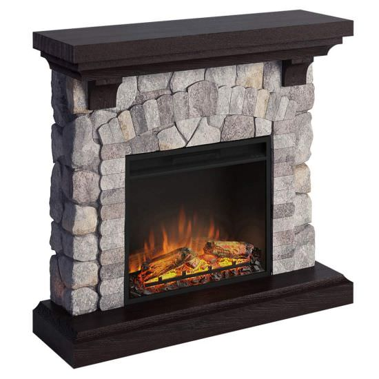 Electric fireplace complete with rock