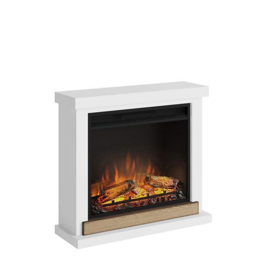 Complete white electric fireplace