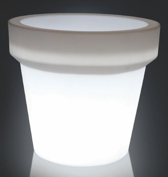 Vaso XL con luce Bianco traslucido