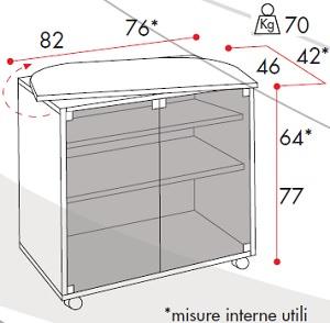 Carrello porta TV con ante in cristallo e piano girevole