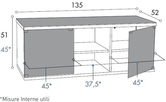 Porta tv nero per televisori con ante e ripiani regolabili - Altezza mobile tv ...