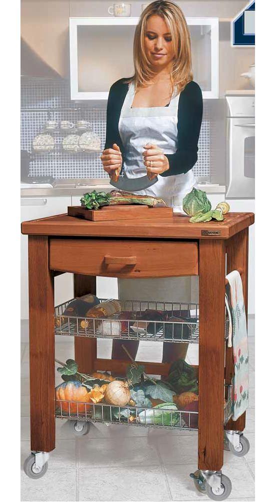 Carrello Da Cucina In Legno Massicco Con Cassetto E Cestelli