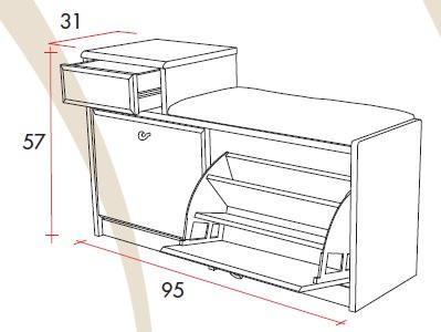 Mobile per Scarpe Small con 2 ante e cassetto porta oggetti