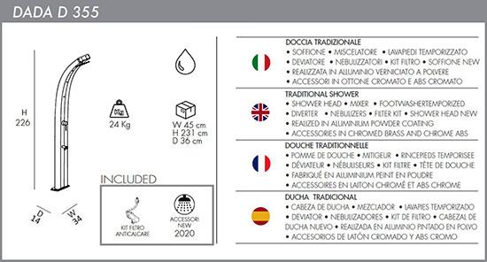 Doccia Tradizionale Curva Dada D355-I con Miscelatore, Lavapiedi Temporizzato e Nebulizzatori Fascia Inox