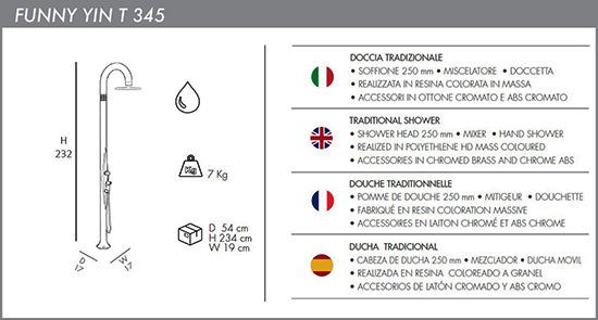 Docce tradizionali da interno ed esterno Funny Yin T345 con Miscelatore, Soffione e Doccetta