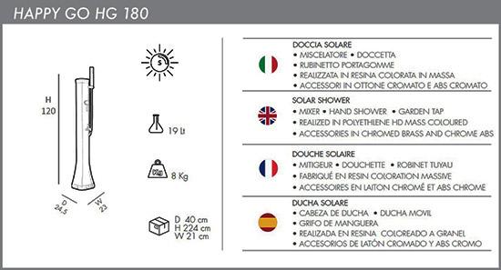 Docce solari basse Happy Go con doccino mobile miscelatore e lavapiedi