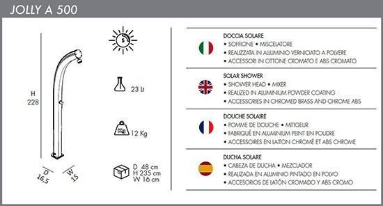Doccia solare ecologica Jolly A 500 Curva con miscelatore