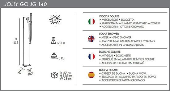 Docce portatile a riscaldamento solare Jolly Go JG140 con Miscelatore e Doccetta