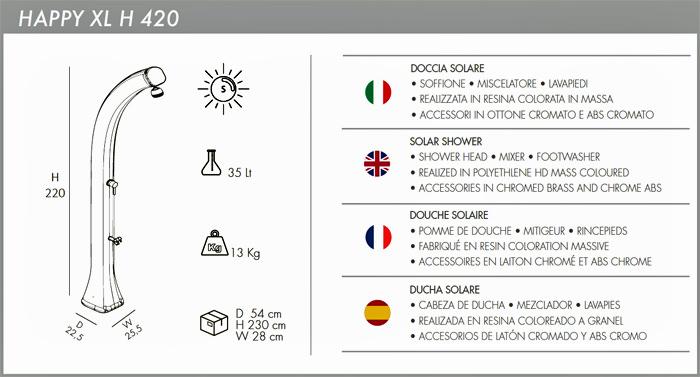 Docce per esterno solare Happy XL H420 con miscelatore e lavapiedi