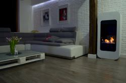 Stand alone biofuel fireplace White