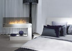 Freestanding modern design bio fuel fire