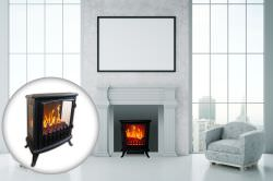 Portable fireplace Fire Glass Black