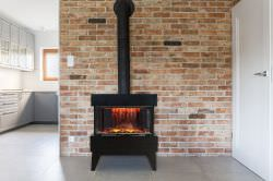 Black floor fireplace