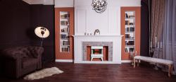 White floor fireplace