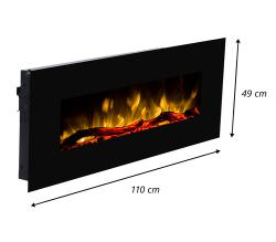 Led Mural Fireplace Pluto Black