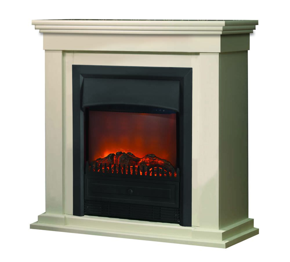 Electric Fireplace Lagos With White Modern Surround Calgary