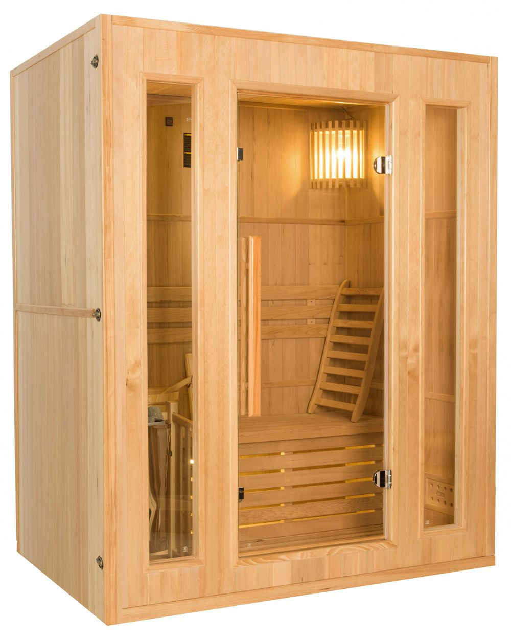 Sauna A Vapore.Traditional 3 Seater Steam Sauna With 3500w Stove
